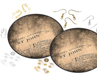 Inspirational Bible Scriptures - Gospel According To John - Decoupage Ear Art Earrings - Black Faux Leather Canvas