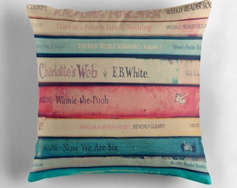 decorative square pillow-home decor-art pillow-books-photography-vintage books-pink-blue-dorm room decor- back to school