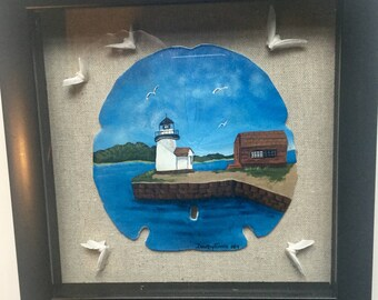 Mystic River Lighthouse Hand Painted Sand Dollar Shadow Box
