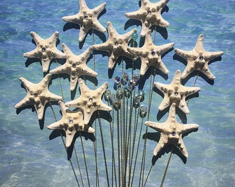 Starfish and Crystal Stems - 24 Starfish and Crystals for a Wedding Bouquet or Centerpiece