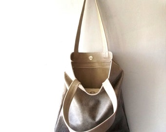 ON SALE Leather tote, Splash of Color on leather , Beige and black