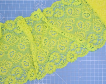 "1 m (1.09 yd) of Stretch lace - Fluorescent Yellow - 22 cm (8,3/4"") Wide"
