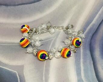 Rainbow Yarn Bracelet, Rainbow Yarn, Colorful, Polymer Clay, Handmade, Yarn Lovers, Yarn Jewelry, Yarn Bracelet, A Good Yarn, Bracelets