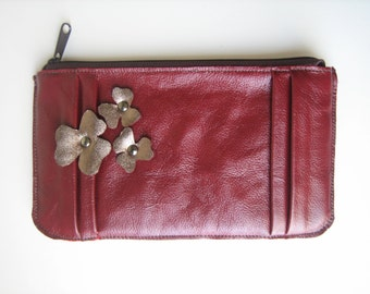 Pleated Cranberry Leather Clutch