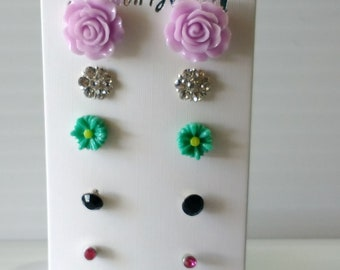 stud earring, set of 5. different styles, handmade, jewelry