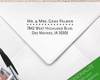Custom Address Stamp, Personalized Return Address Stamp, Wedding Stamp, Mr and Mrs Stamp, MS-REC-16