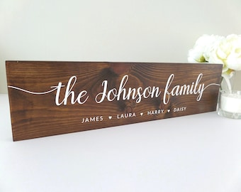 Family Name Sign - Wooden Rustic Sign - Personalised Sign - Family Tree - Last Name - Family Gift - New Home Gift - Custom Sign - Christmas