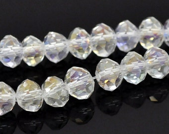 Faceted Clear AB Crystal Glass Rounds - 6x5MM