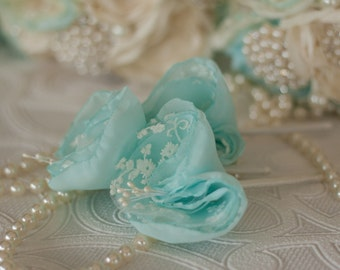 Set of three (3) Chiffon and lace Buttonholes, Grooms, Best man, Groomsmen Custom made Fabric Buttonhole, Boutonniere,