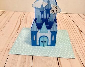 Handmade Prince Castle Box Card - It's a Boy