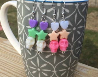 Neon Skull Star Silver Earrings