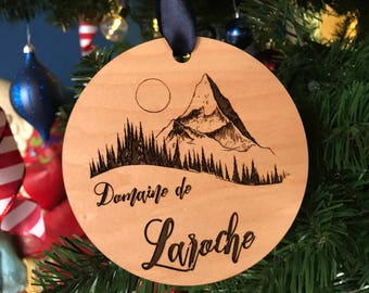 Personalized Family Name Round Wood Ornament with Forest and Moutain Scene