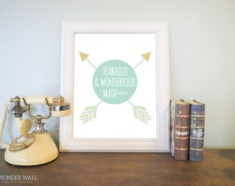 Fearfully and Wonderfully Made Nursery Art Arrows and Circle Wall Art