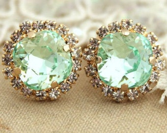 Mint Stud Earrings, Mint Earrings, Swarovski Mint Studs, Bridal Mint Earrings, Bridesmaids Earring, Bridesmaids Gift, Gift For Her