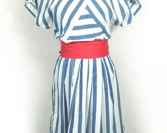 80s Dress, Vintage Nautical Stripe Summer Dress Size S Small