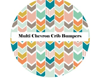 Crib Bumpers in MULTI CHEVRON-Crib Bedding-Arrow Crib Bedding-Baby Bedding-Black-BoyCrib Bedding