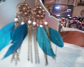 TEAL FEATHER periced earrings