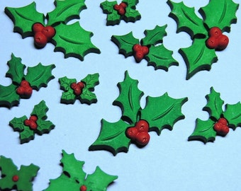 HOLLY JOLLY CHRISTMAS Plastic Craft Embellishments Green Leaves Red Berries