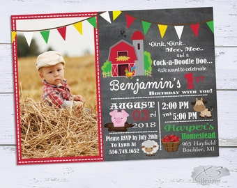 Printable Barnyard Birthday Invitations, Photo 1st Birthday Invitations, Farm Birthday Party Invitation, Boy First Birthday Invites