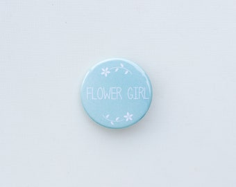 Flower Girl Badge Duck Egg Blue -  Wedding Favour/Wedding Gift/Bridesmaid
