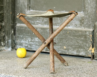 Camping Stool - Folding Vintage Stool - Wooden Fishing Stool - Canvas and Wood Tripod Stool - Camp Stool - Outdoor Stool - Fishing Gift