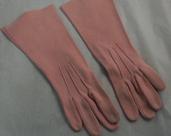 Ladies Vintage gloves pink cotton Gant size 6 made in France