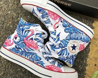 Custom Flamingo Painted Sneakers, Custom Flamingo Handpainted Converse, Custom Floral Painted Shoes, Custom Flamingo Handpainted Shoes