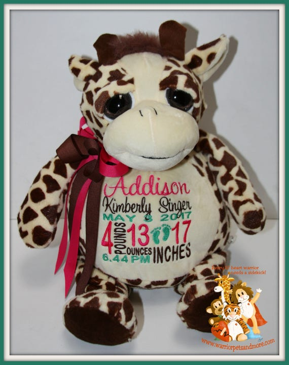 Birth Stat Pets Personalized Giraffe stuffed Animal