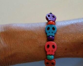 Sugar Skull Day of the Dead Beaded Halloween Bracelet