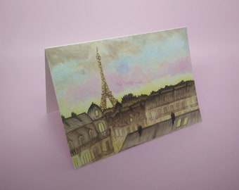 PARIS GREETING CARD / watercolour painting blank card / empty card paris at night eiffel tower light / gift from paris skyline city of light