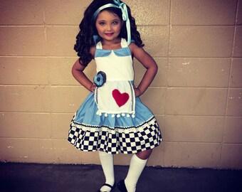 Alice in Wonderland Dress, Alice in Wonderland Costume, Alice in Wonderland Girls Dress, Alice in Wonderland Birthday Outfit, Alice Dress