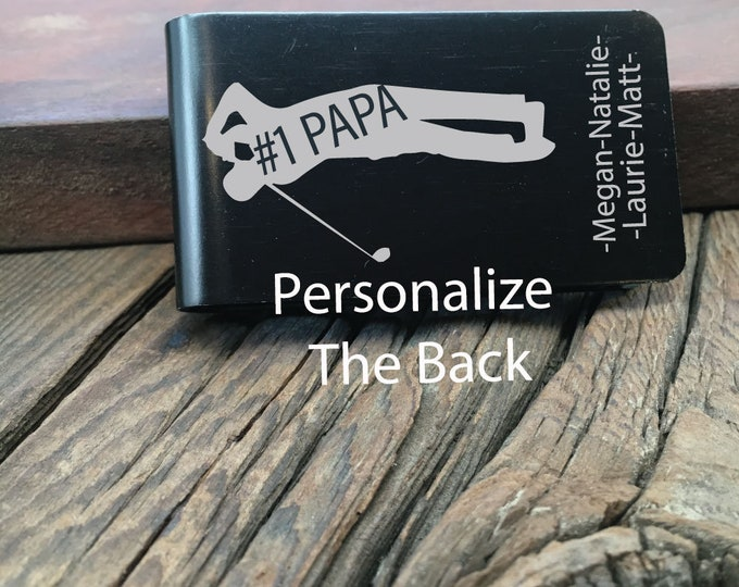 Personalized #1 Papa Golfer Money Clip Gift For The Papa Who Loves Golfing Fathers Day Gift Custom Wallet For The #1 Papa Golfer Money Clip