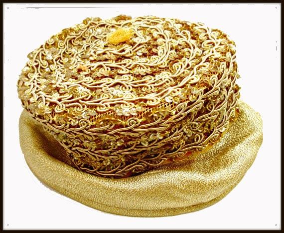 Gold   Pillbox Hat - Golden  Sequins. - gold stitching design