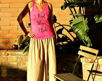 Tanks-Tops-Tees-Womens Clothing-Clothing-Bad Wives Club-Hot Pink V Tank with Scoop Bottom Cut-Mommy LaDy Club Mama Sass Collection