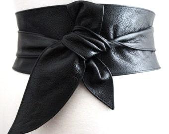 Black Belt  Gift for her  Black leather obi belt  Leather sash belt Real leather belt  Obi Belt  Plus size belt  Wrap tie belt  Leather Belt