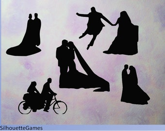 Wedding silhouette, black