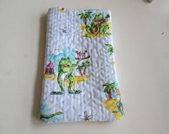 Beach frog large sunglasses case fabric quilted