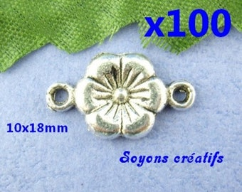 Lot 100 10x18mm Silver Flower connectors