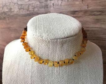 GENUINE Baltic Amber Baby Teething Necklace - RAW Unpolished Ombre Multicolored Baltic Amber Beads