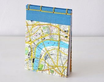 Kleines Notizbuch, Stadtplan, London, Cavallini Papier, blau, gelb, Journal, Tagebuch, Skizzenbuch, Reisetagebuch, Notizblock
