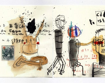 Closer to the Bone - Original Mixed Media Drawing from Sketchbook