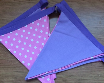 Pink/Purple handmade fabric bunting