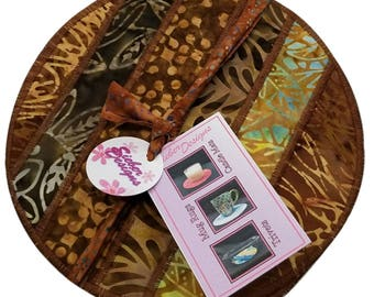 Fabric Trivet, Mug Rug, Candle Mat in Striped Brown Batiks (set of 2)