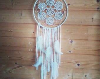 White Dreamcatcher, lace, feathers and beads