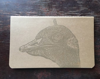 "Ostrich Linocut Printed on Moleskine 8"" x 5"" Lined Cahier Notebook"