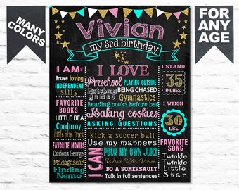 Printable Pink Gold Birthday chalkboard chalk board first second third sign poster banner milestone blackboard (199)