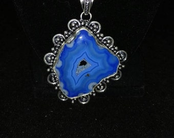 CLEARANCE * Blue Druzy Agate Necklace
