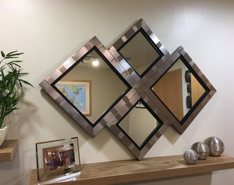 "EXCLUSIVE""The Skipton"" Silver and Black Diamond Wall Mirror 115 X 86 CM"