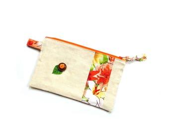 Small cosmetic bag, zipper pouch, linen bag, make up bag, color block, peach floral print, pencil case