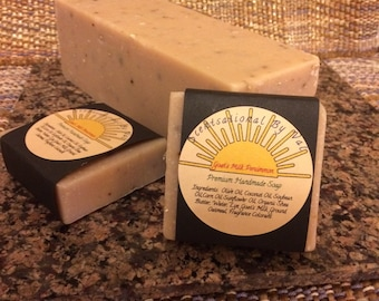 "Goat's Milk Persimmon, Premium Handmade Soap, 5 oz., 1 "" X 3"" X 3"" Generous Sized Bar"